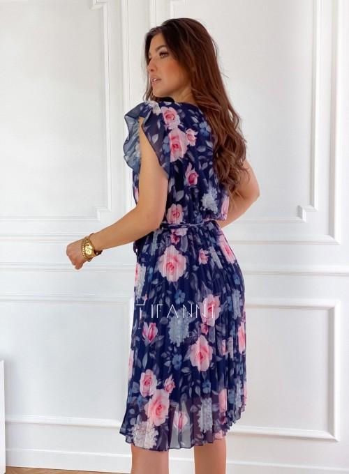 Plisowana kwiatowa sukienka Auris granatowa 8