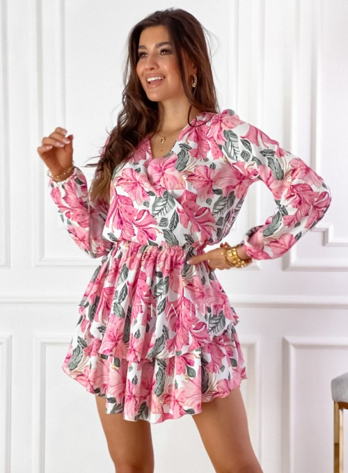 Sukienka z falbankami Angi pink