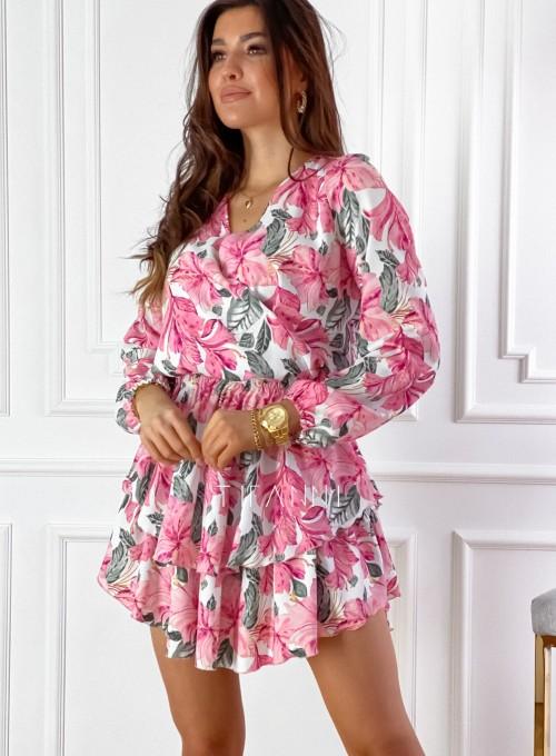 Sukienka z falbankami Angi pink 5