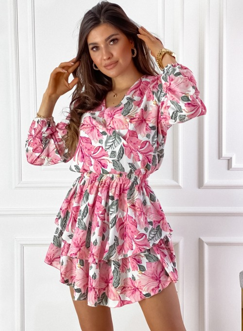 Sukienka z falbankami Angi pink 3