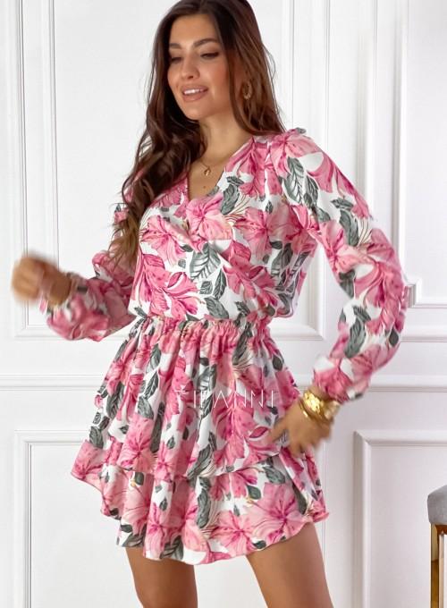 Sukienka z falbankami Angi pink 6