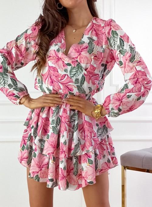 Sukienka z falbankami Angi pink 2