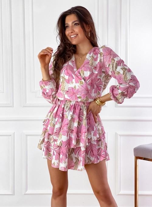 Sukienka z falbankami na dole Angi pudrowa