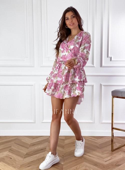 Sukienka z falbankami na dole Angi pudrowa 3