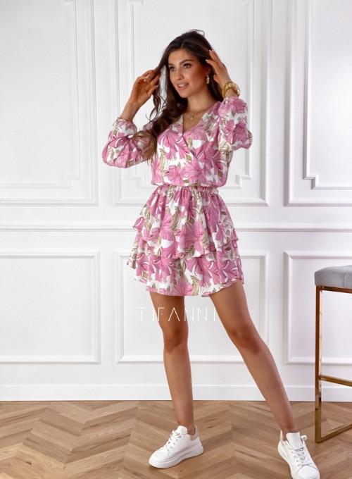 Sukienka z falbankami na dole Angi pudrowa 5