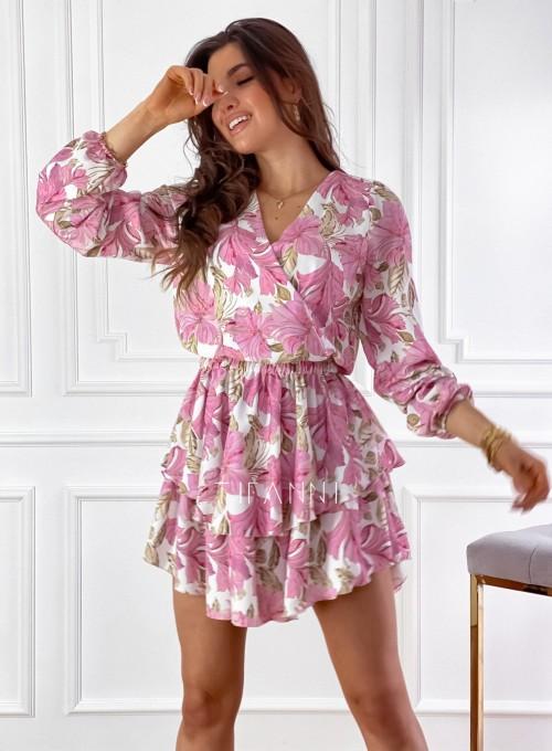 Sukienka z falbankami na dole Angi pudrowa 4