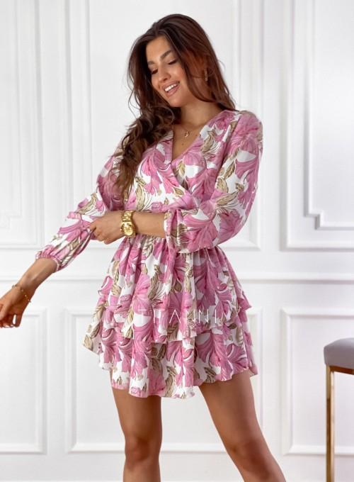 Sukienka z falbankami na dole Angi pudrowa 7