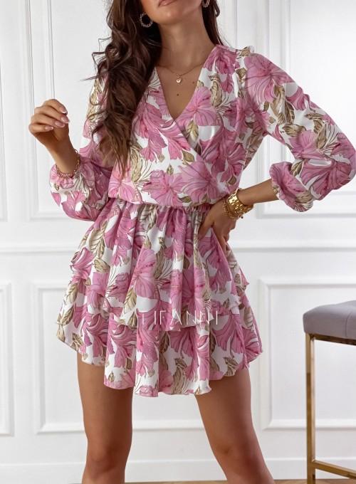 Sukienka z falbankami na dole Angi pudrowa 2