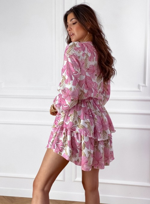 Sukienka z falbankami na dole Angi pudrowa 8