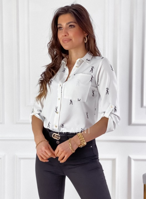 Koszula Pampi śmietankowa z czarnym printem 4