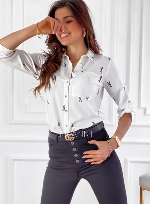 Koszula Pampi śmietankowa z czarnym printem 3