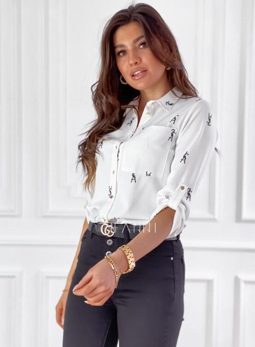 Koszula Pampi śmietankowa z czarnym printem 5