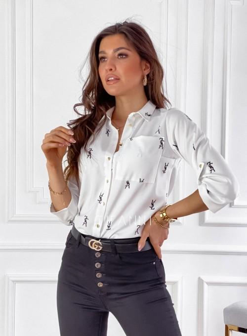 Koszula Pampi śmietankowa z czarnym printem 7