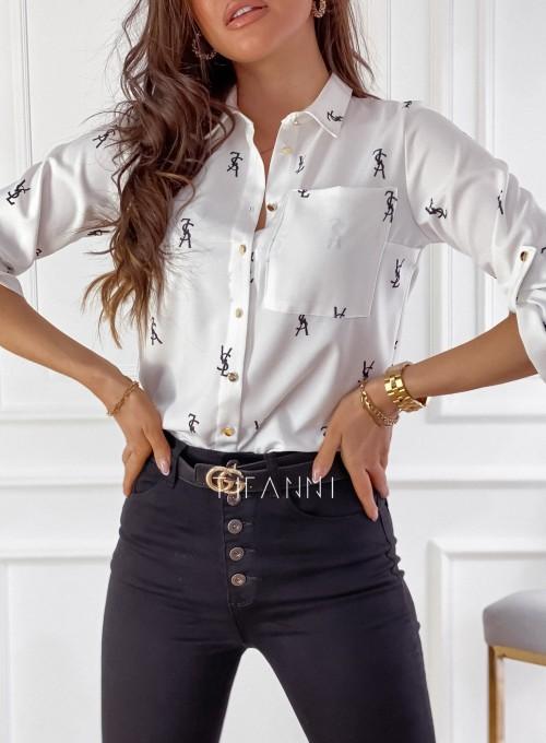 Koszula Pampi śmietankowa z czarnym printem 1