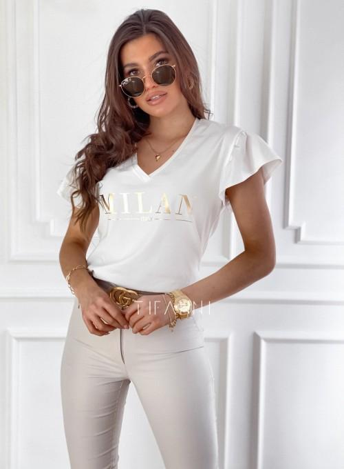 T-shirt z falbanką na rękawie Milan śmietankowa