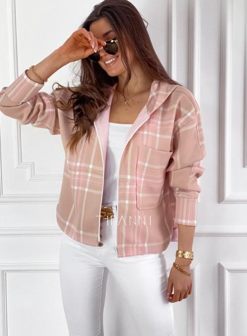Kurtka bluza z kapturem różowa w kratę