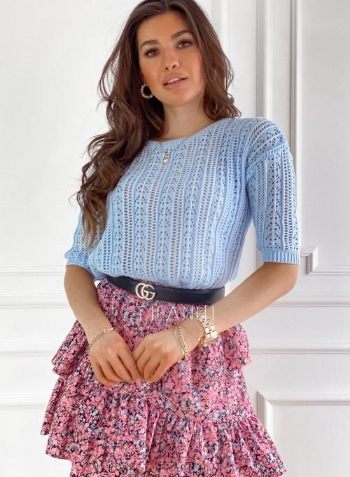 Ażurkowy sweter Donni błękitny
