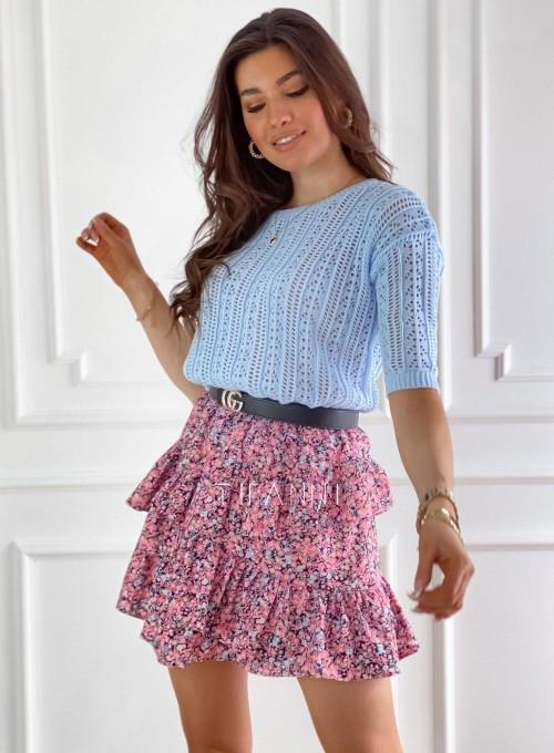 Ażurkowa bluzka sweterkowa Donni błękitna 2