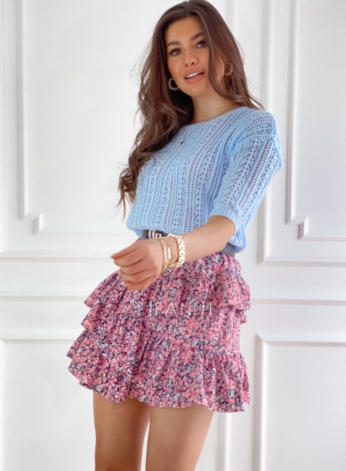 Ażurkowa bluzka sweterkowa Donni błękitna 3
