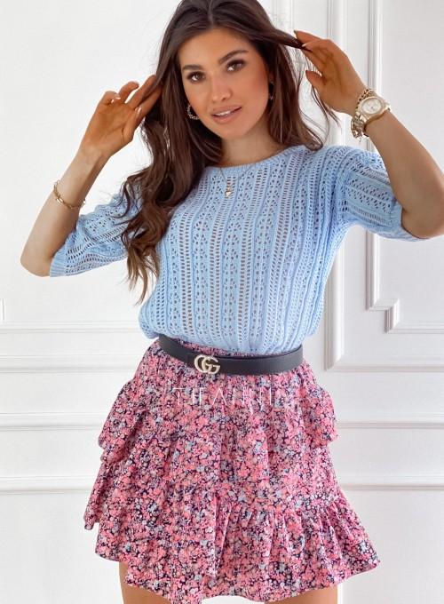 Ażurkowa bluzka sweterkowa Donni błękitna 4