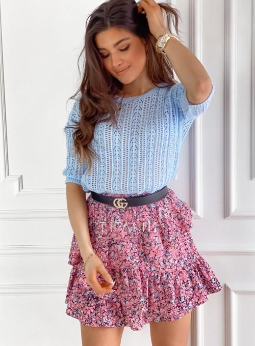 Ażurkowa bluzka sweterkowa Donni błękitna 6