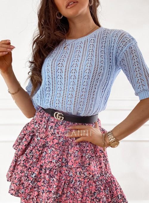 Ażurkowa bluzka sweterkowa Donni błękitna 1