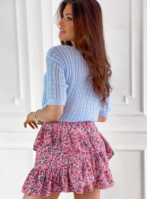 Ażurkowa bluzka sweterkowa Donni błękitna 7