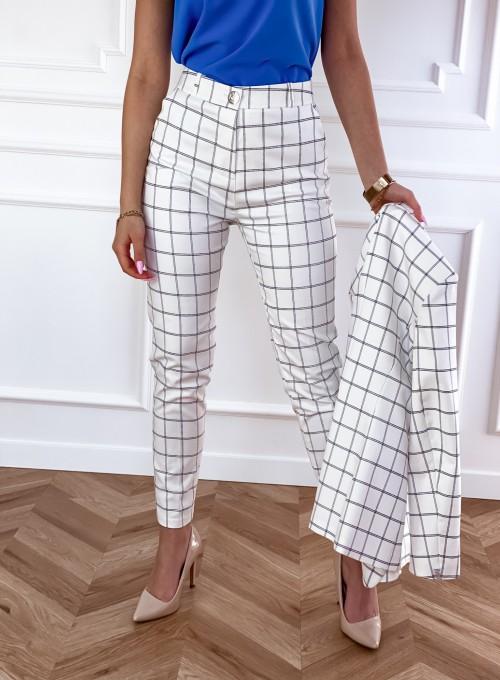 Spodnie Oli krata śmietankowe 5