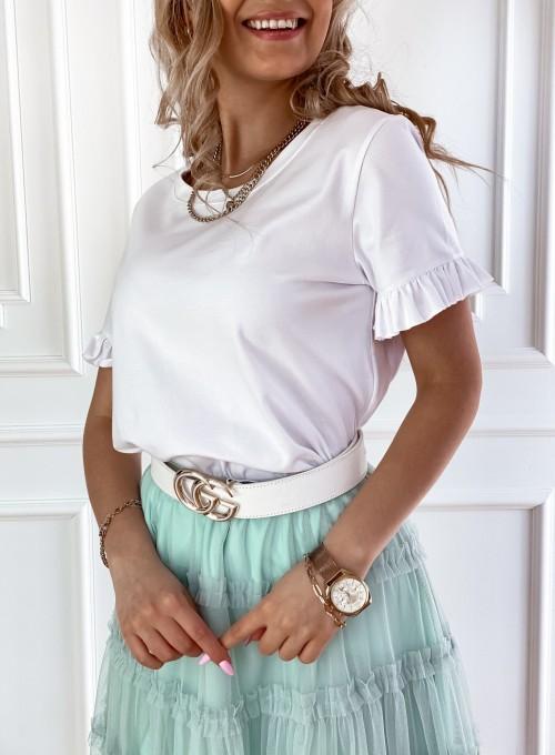 T-shirt z falbanką na rękawie Tifi biały 1