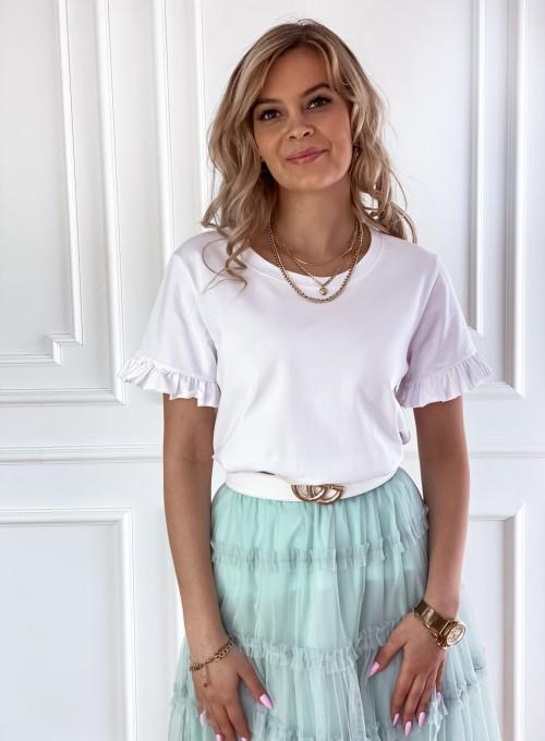 T-shirt z falbanką na rękawie Tifi biały 5