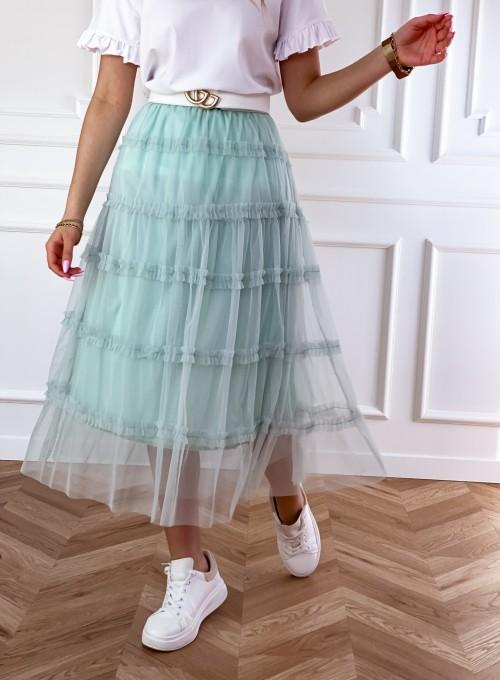 Tiulowa spódnica Leo miętowa