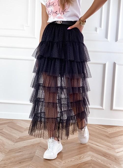Spódnica z falbankami Wendi czarna
