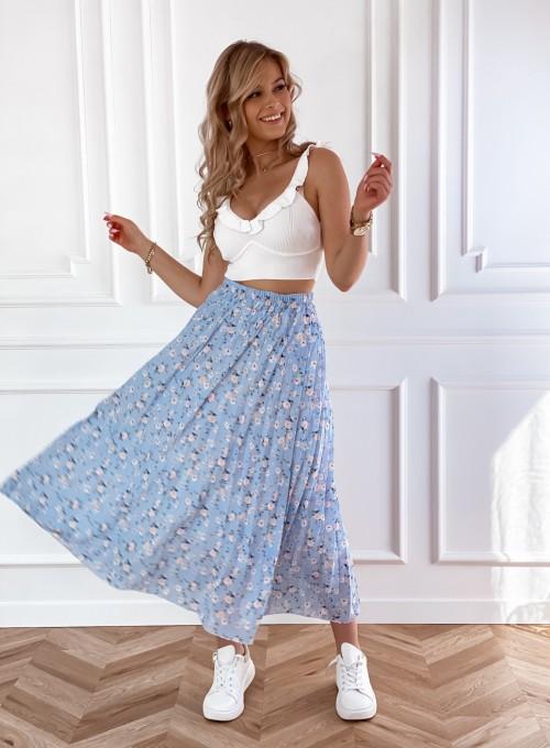 Plisowana spódnica maxi w kolorze błękitnym