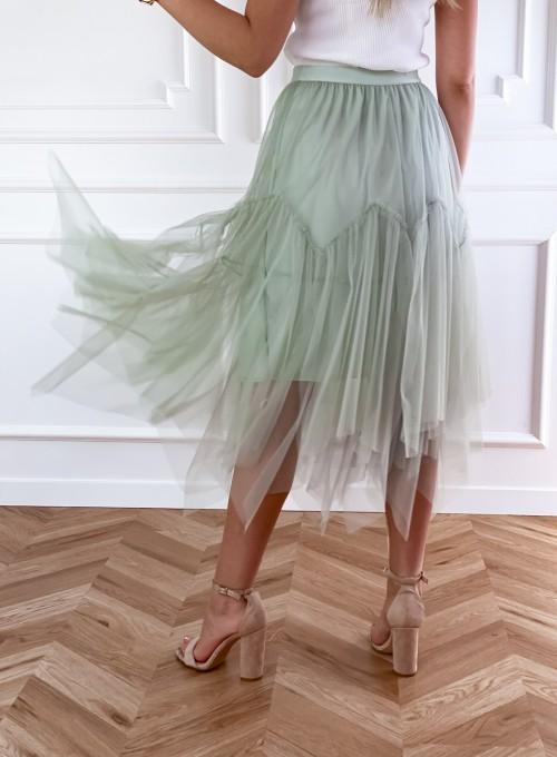 Tiulowa spódnica Tami miętowa 1