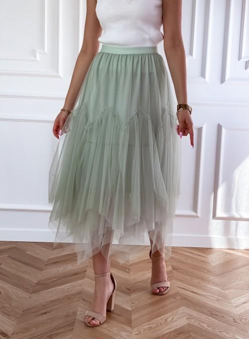 Tiulowa spódnica Tami miętowa 2