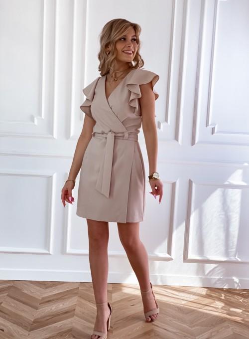 Elegancka sukienka Cristi beżowa 1