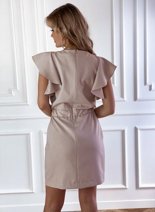 Elegancka sukienka Cristi beżowa 2