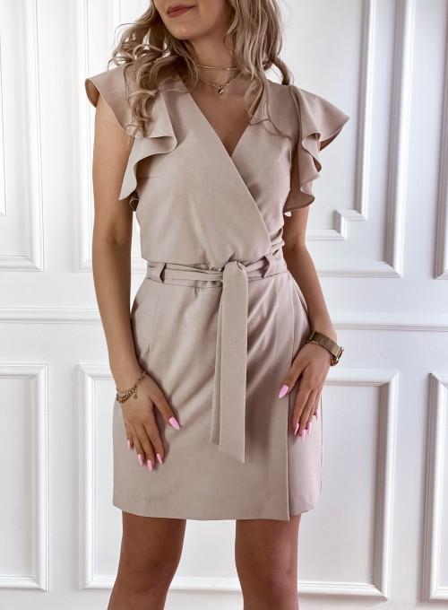 Elegancka sukienka Cristi beżowa 3