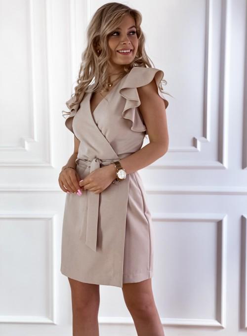 Elegancka sukienka Cristi beżowa 4