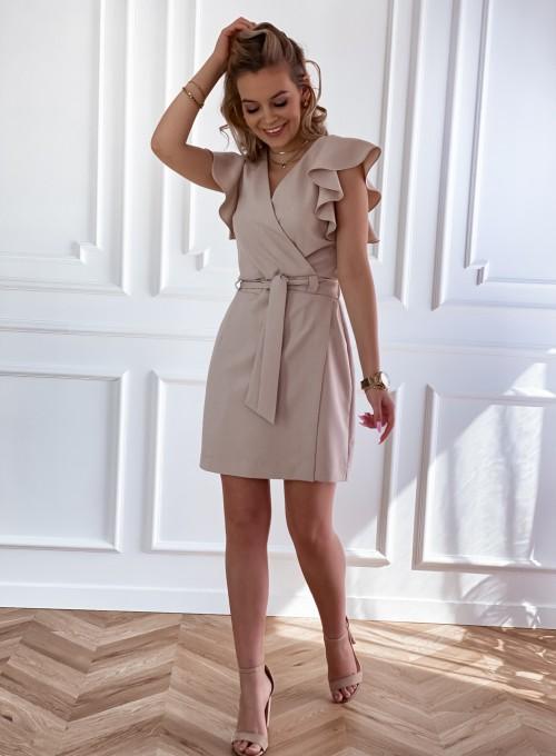 Elegancka sukienka Cristi beżowa 6