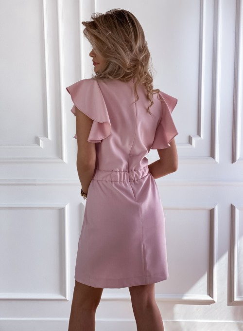 Elegancka sukienka Cristi pudrowa 2