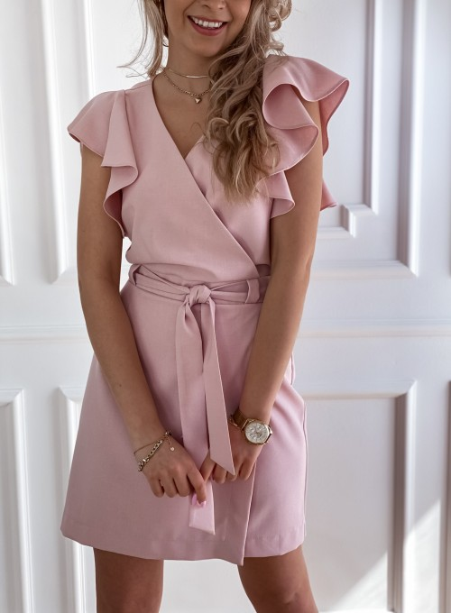 Elegancka sukienka Cristi pudrowa 3