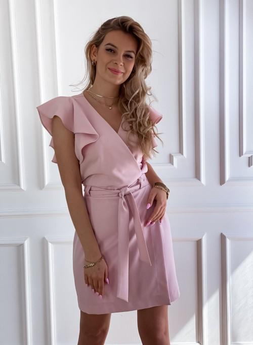 Elegancka sukienka Cristi pudrowa 4