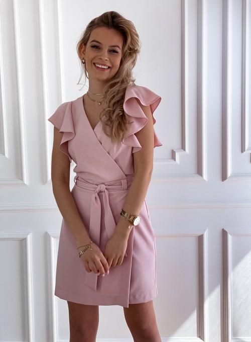 Elegancka sukienka Cristi pudrowa 5
