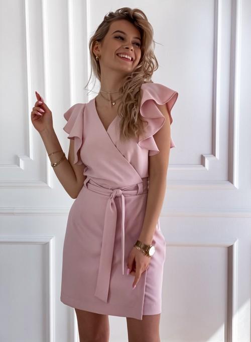 Elegancka sukienka Cristi pudrowa 6
