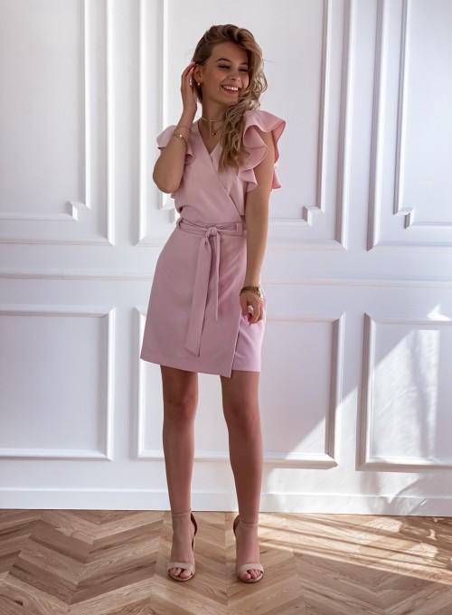 Elegancka sukienka Cristi pudrowa 7