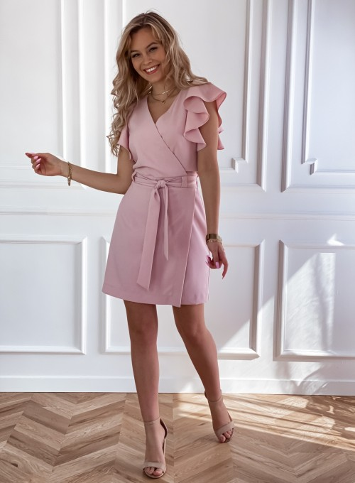Elegancka sukienka Cristi pudrowa 8