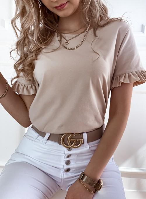 T-shirt z falbanką na rękawie Tifi beżowy 1