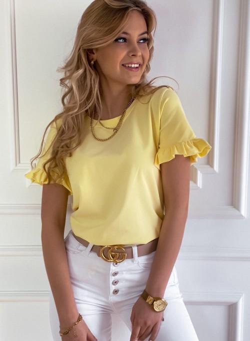 T-shirt z falbanką na rękawie Tifi w kolorze bananowym