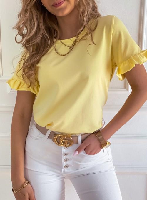 T-shirt z falbanką na rękawie Tifi w kolorze bananowym 1